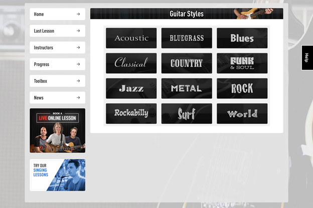 Different guitar styles you can play.