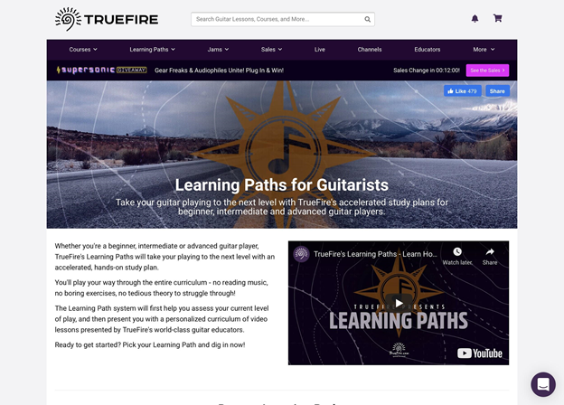 Truefire's learning paths for guitarists.
