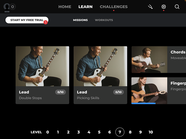 Learn new skills options on Yousician.