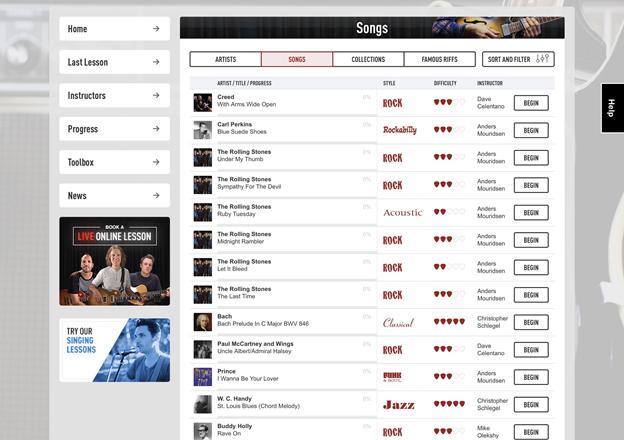 Guitar Tricks songs list.