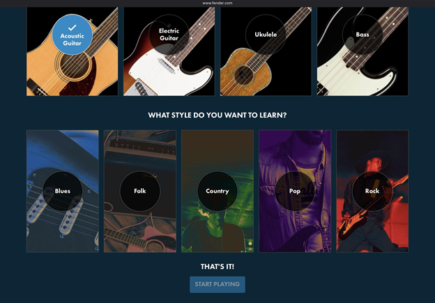 Fender Play music learning path.