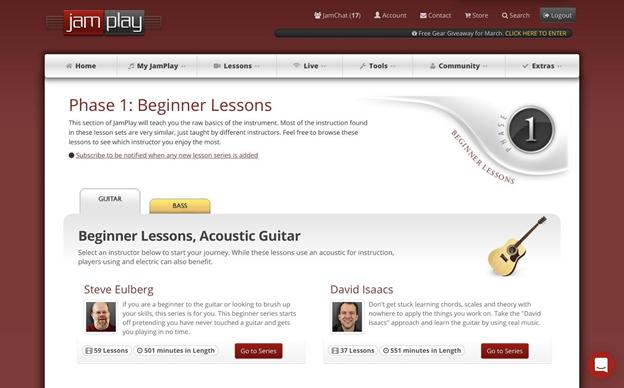 Beginner lessons homepage.
