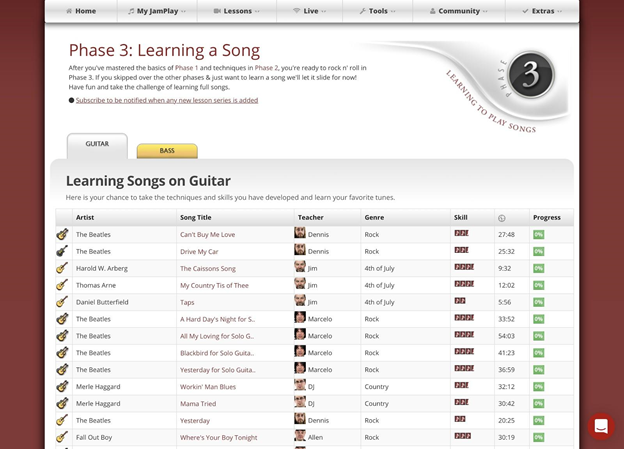 Learning a song page on JamPlay.