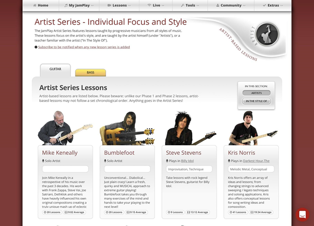 Artist series page.