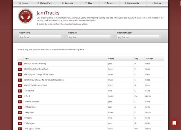 Track options on JamTrack.
