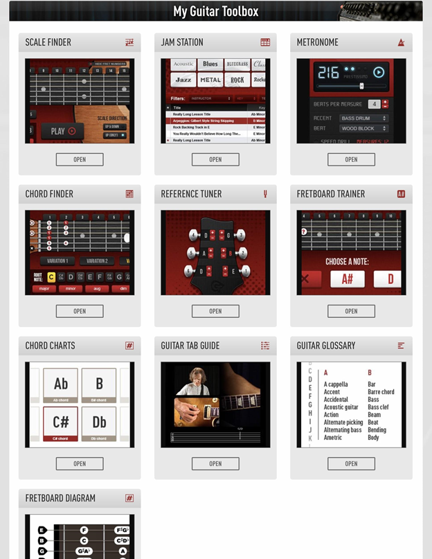 Guitar Tricks tools section.