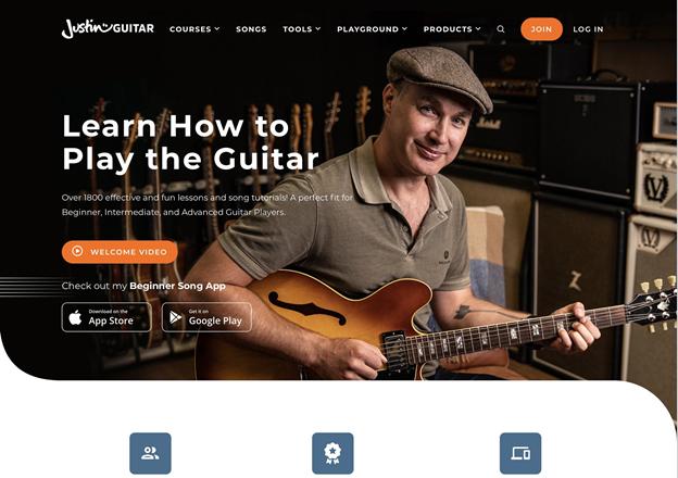 JustinGuitar free guitar lessons.