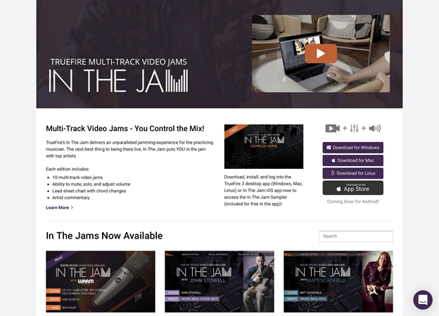 Truefire's 'In The Jam' feature page.